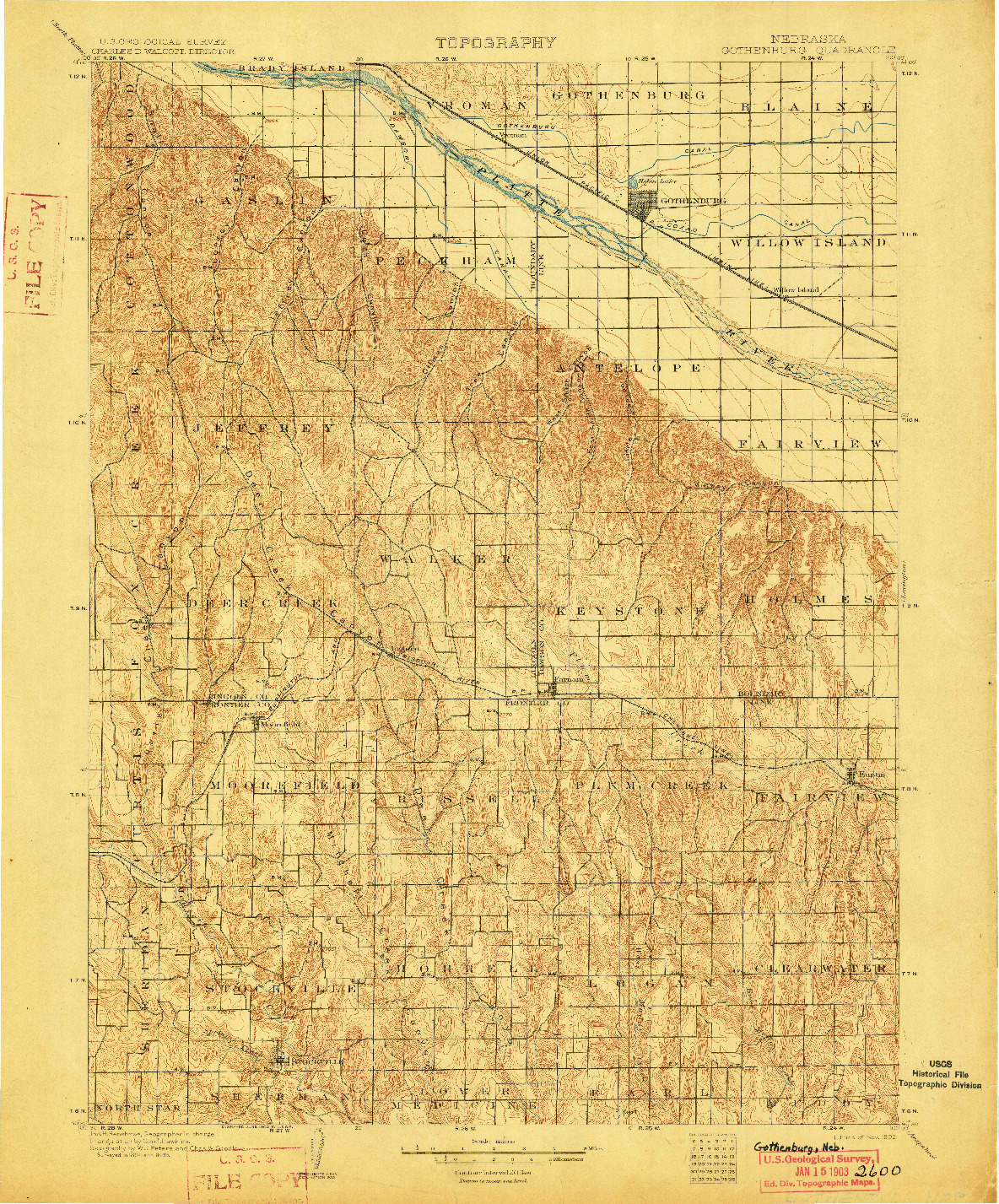 USGS 1:125000-SCALE QUADRANGLE FOR GOTHENBURG, NE 1902