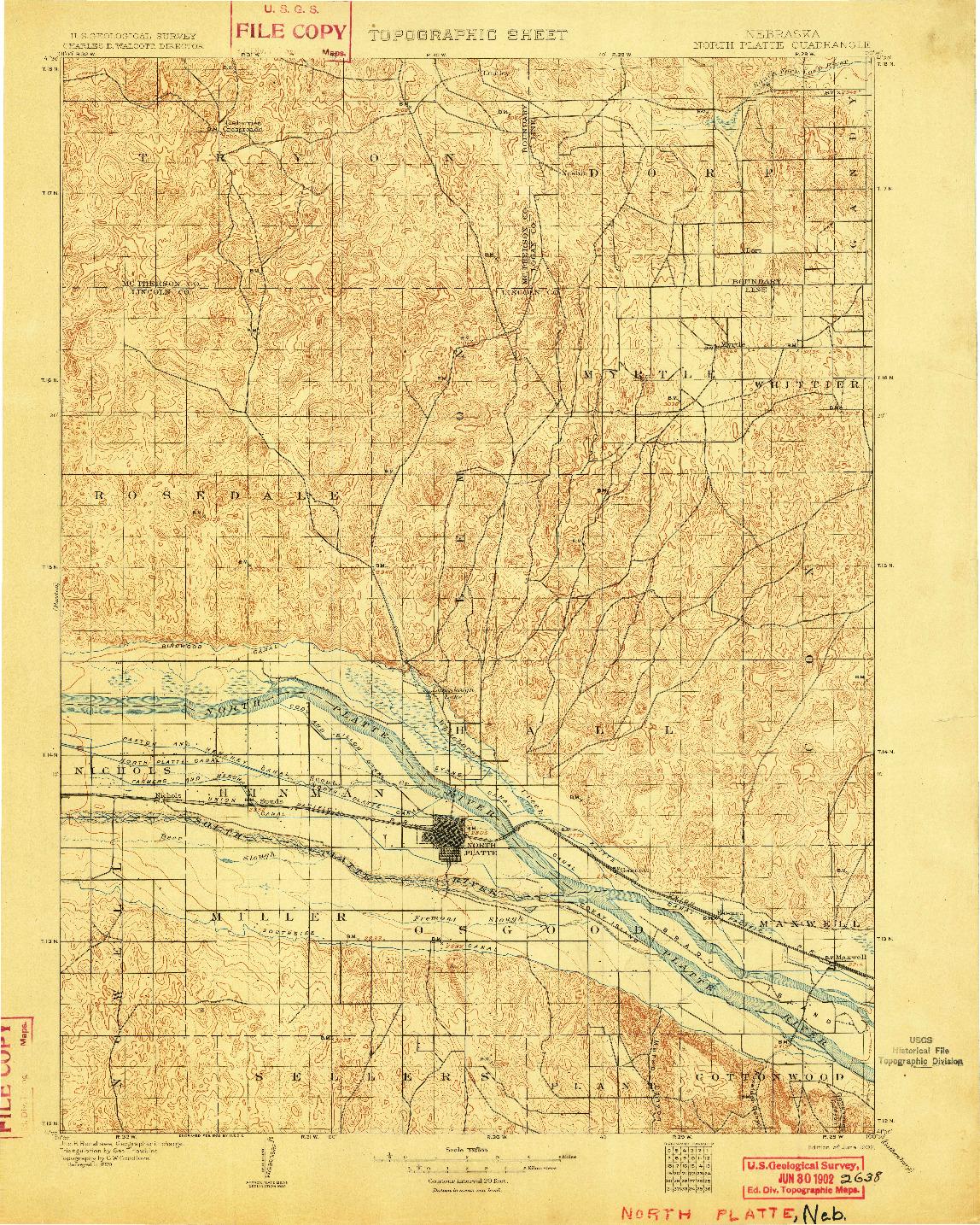 USGS 1:125000-SCALE QUADRANGLE FOR NORTH PLATTE, NE 1902