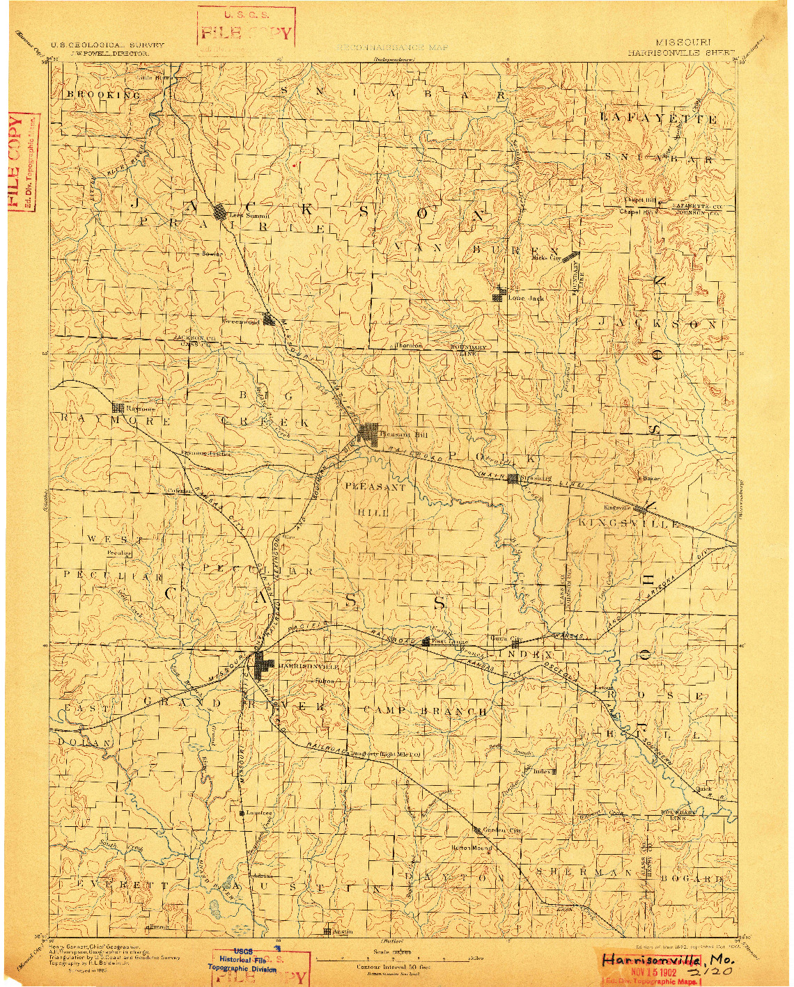 USGS 1:125000-SCALE QUADRANGLE FOR HARRISONVILLE, MO 1892