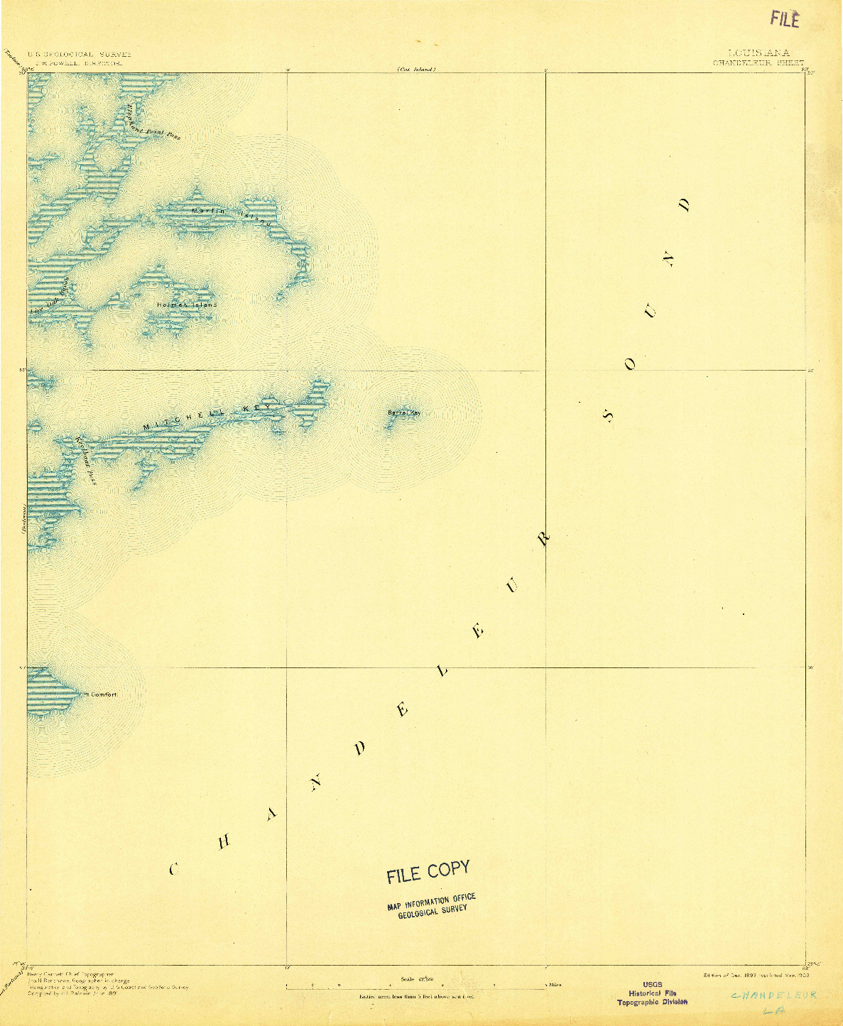 USGS 1:62500-SCALE QUADRANGLE FOR CHANDELEUR, LA 1893
