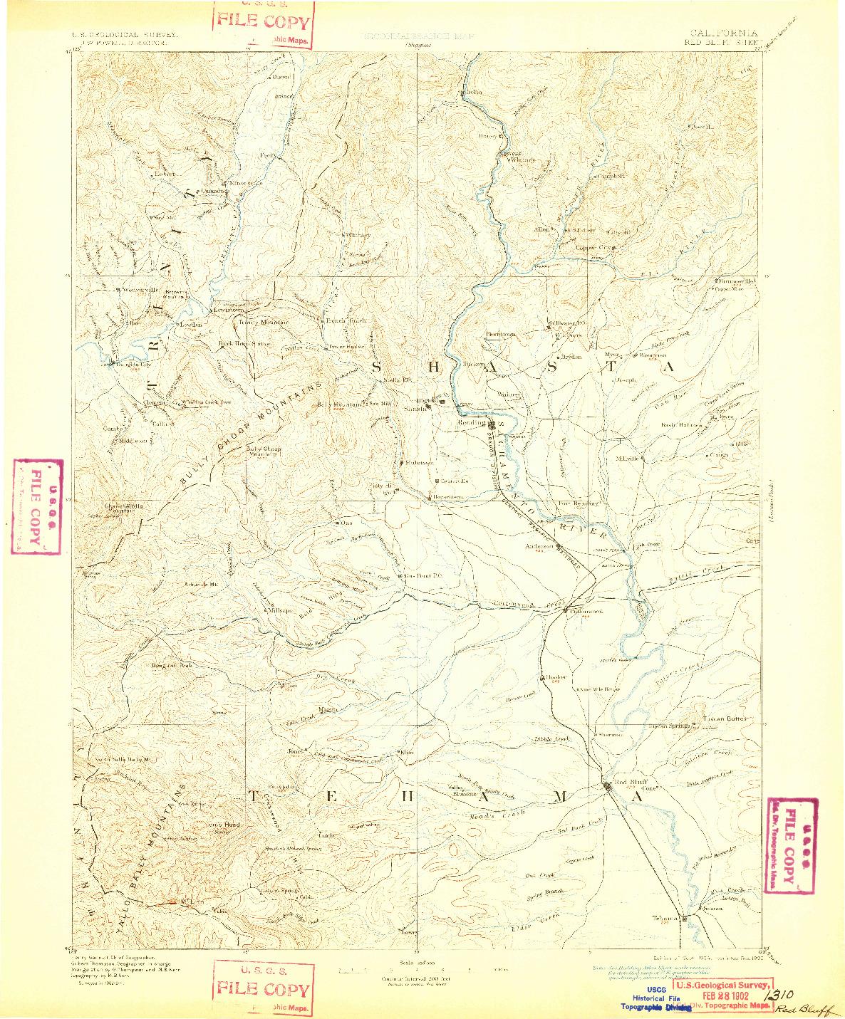 USGS 1:250000-SCALE QUADRANGLE FOR RED BLUFF, CA 1894