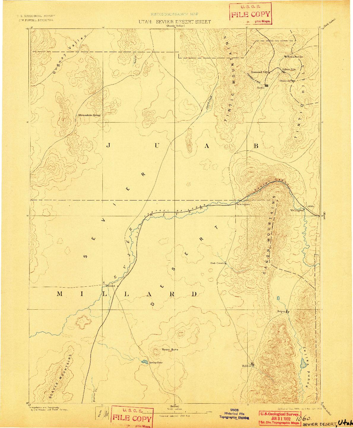USGS 1:250000-SCALE QUADRANGLE FOR SEVIER DESERT, UT 1885