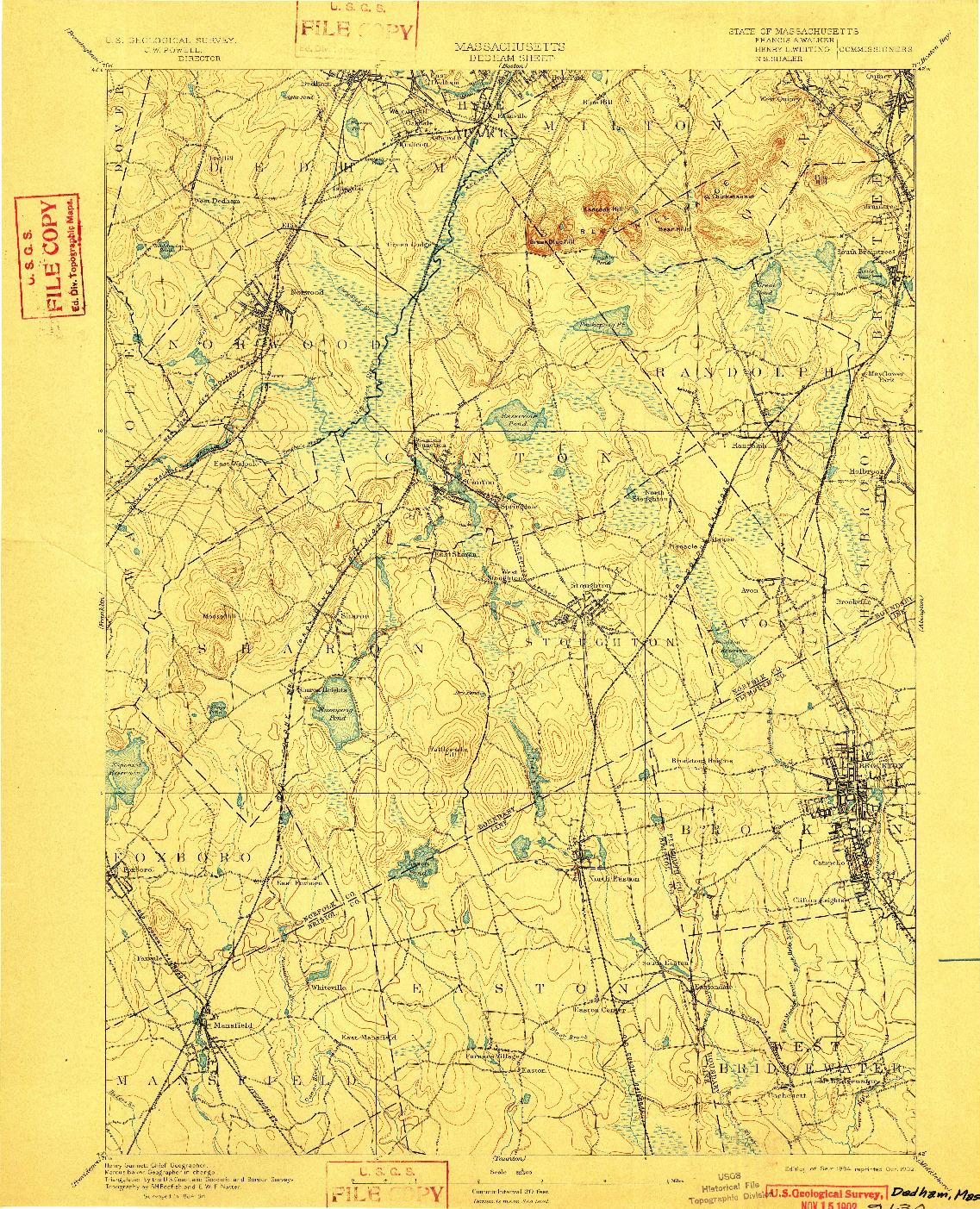 USGS 1:62500-SCALE QUADRANGLE FOR DEDHAM, MA 1894