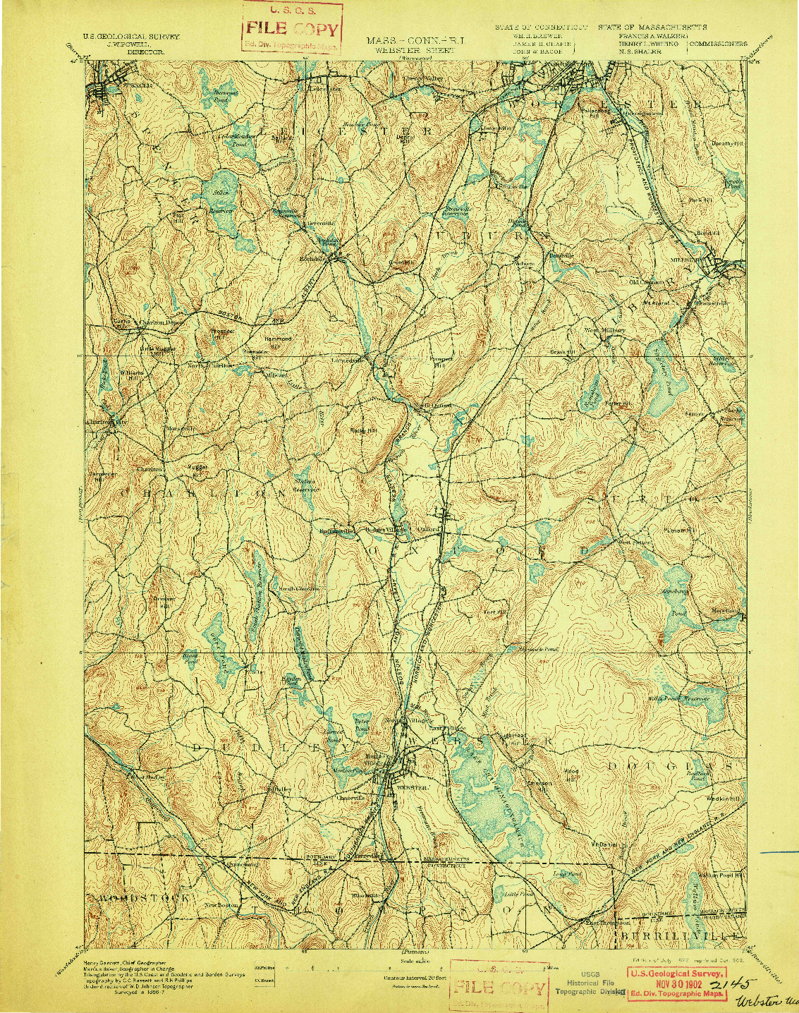 USGS 1:62500-SCALE QUADRANGLE FOR WEBSTER, MA 1892
