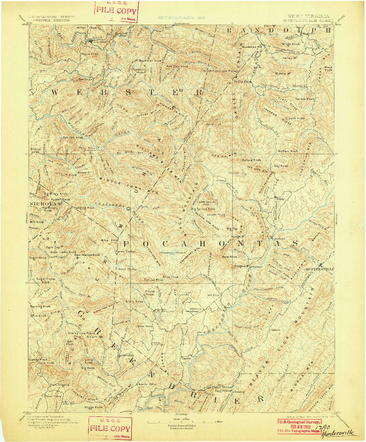 USGS 1:125000-SCALE QUADRANGLE FOR HUNTERSVILLE, WV 1894