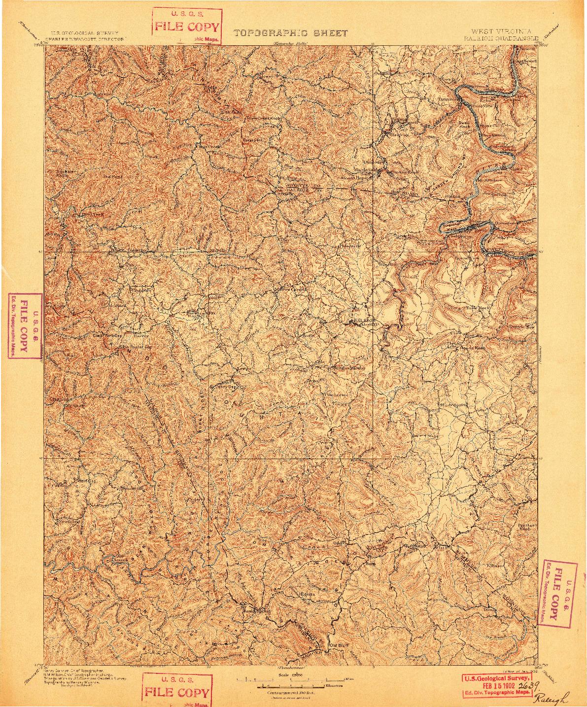 USGS 1:125000-SCALE QUADRANGLE FOR RALEIGH, WV 1902