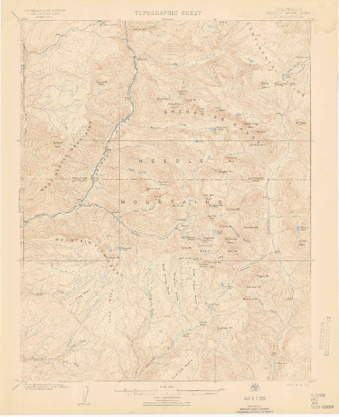 USGS 1:62500-SCALE QUADRANGLE FOR NEEDLE MOUNTAINS, CO 1902