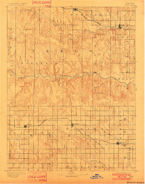 USGS 1:125000-SCALE QUADRANGLE FOR ELLIS, KS 1893
