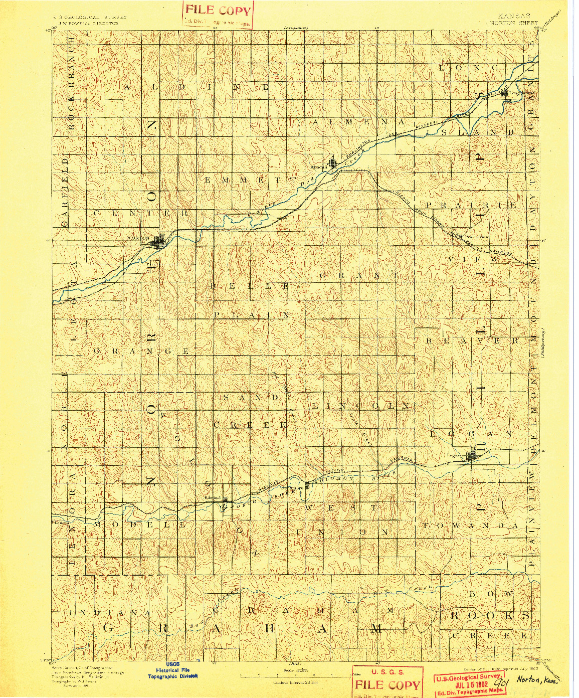 USGS 1:125000-SCALE QUADRANGLE FOR NORTON, KS 1893