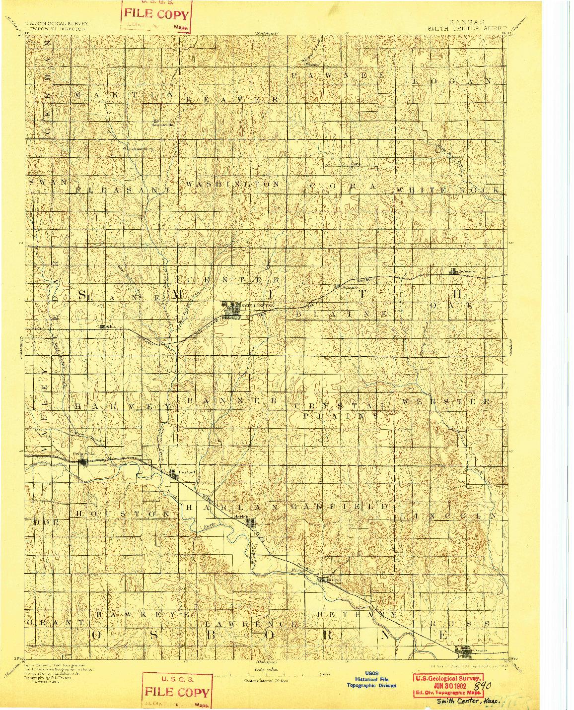 USGS 1:125000-SCALE QUADRANGLE FOR SMITH CENTER, KS 1893