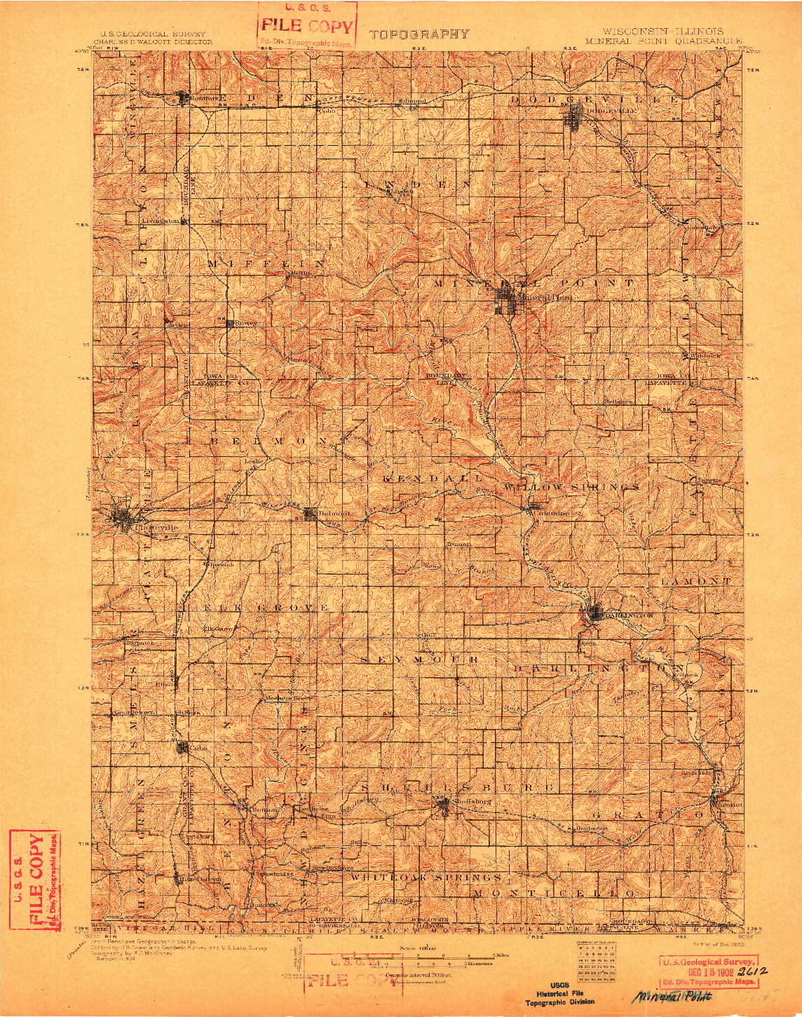 USGS 1:125000-SCALE QUADRANGLE FOR MINERAL POINT, WI 1902