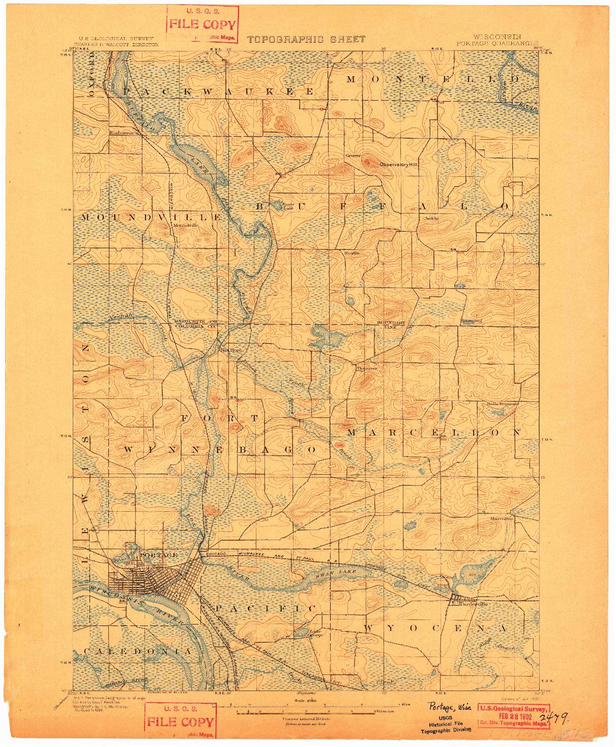 USGS 1:62500-SCALE QUADRANGLE FOR PORTAGE, WI 1902