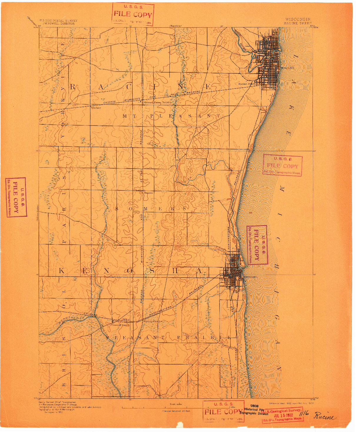 USGS 1:62500-SCALE QUADRANGLE FOR RACINE, WI 1892