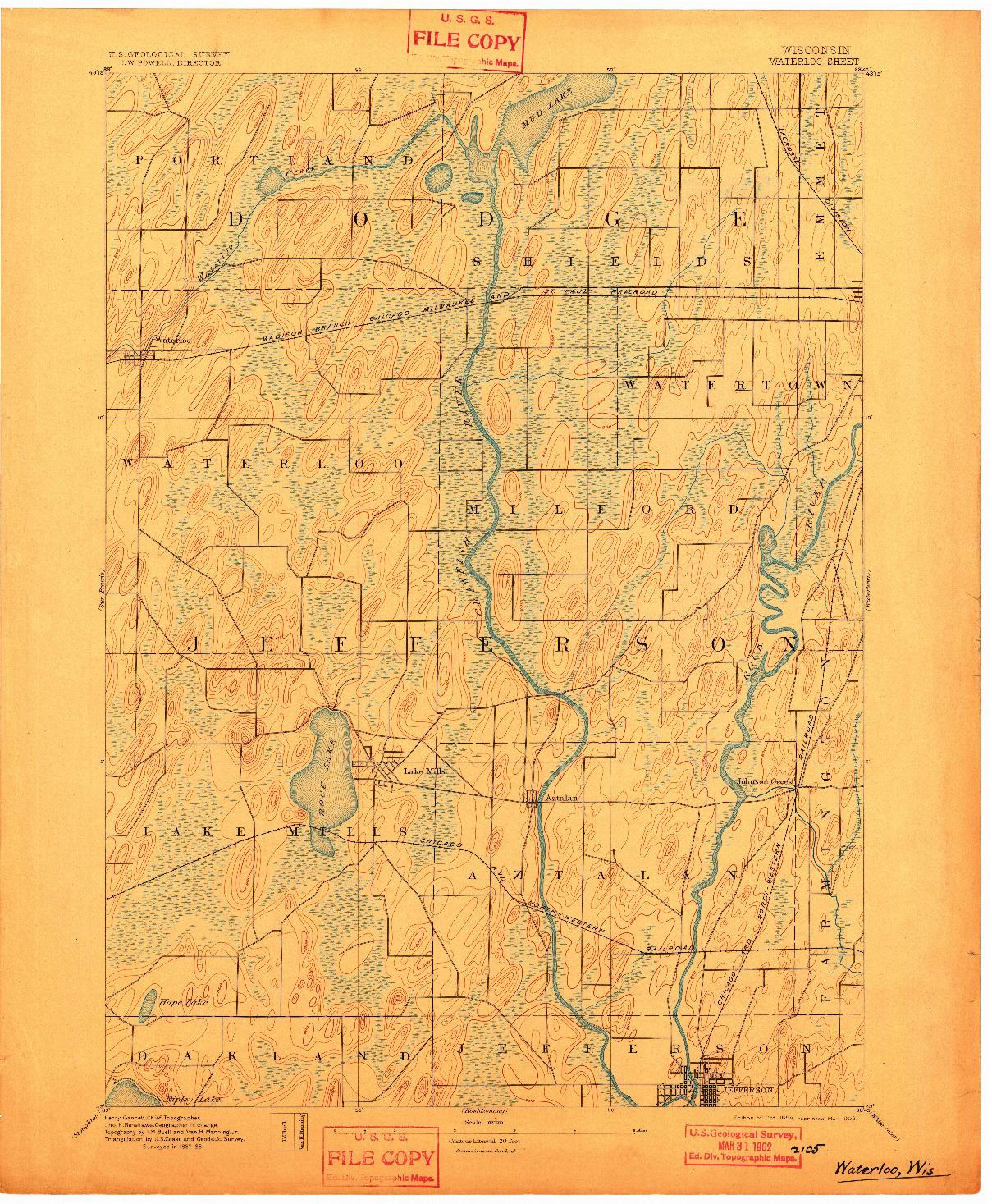 USGS 1:62500-SCALE QUADRANGLE FOR WATERLOO, WI 1894