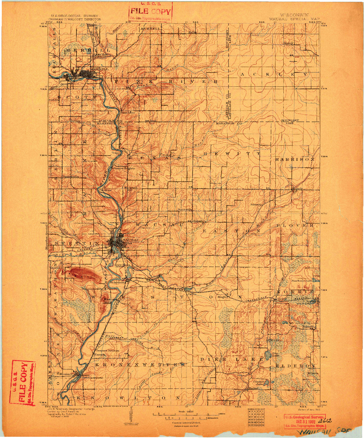 USGS 1:125000-SCALE QUADRANGLE FOR WAUSAU, WI 1902