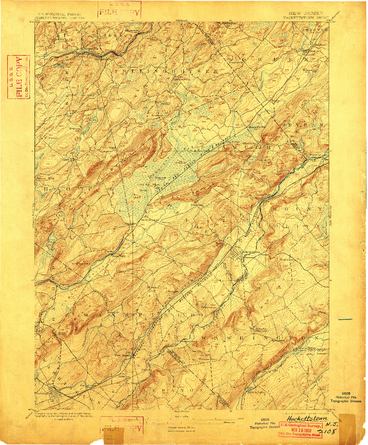USGS 1:62500-SCALE QUADRANGLE FOR HACKETTSTOWN, NJ 1898