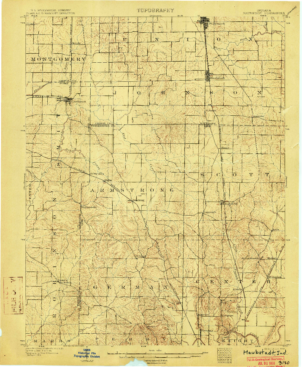 USGS 1:62500-SCALE QUADRANGLE FOR HAUBSTADT, IN 1903