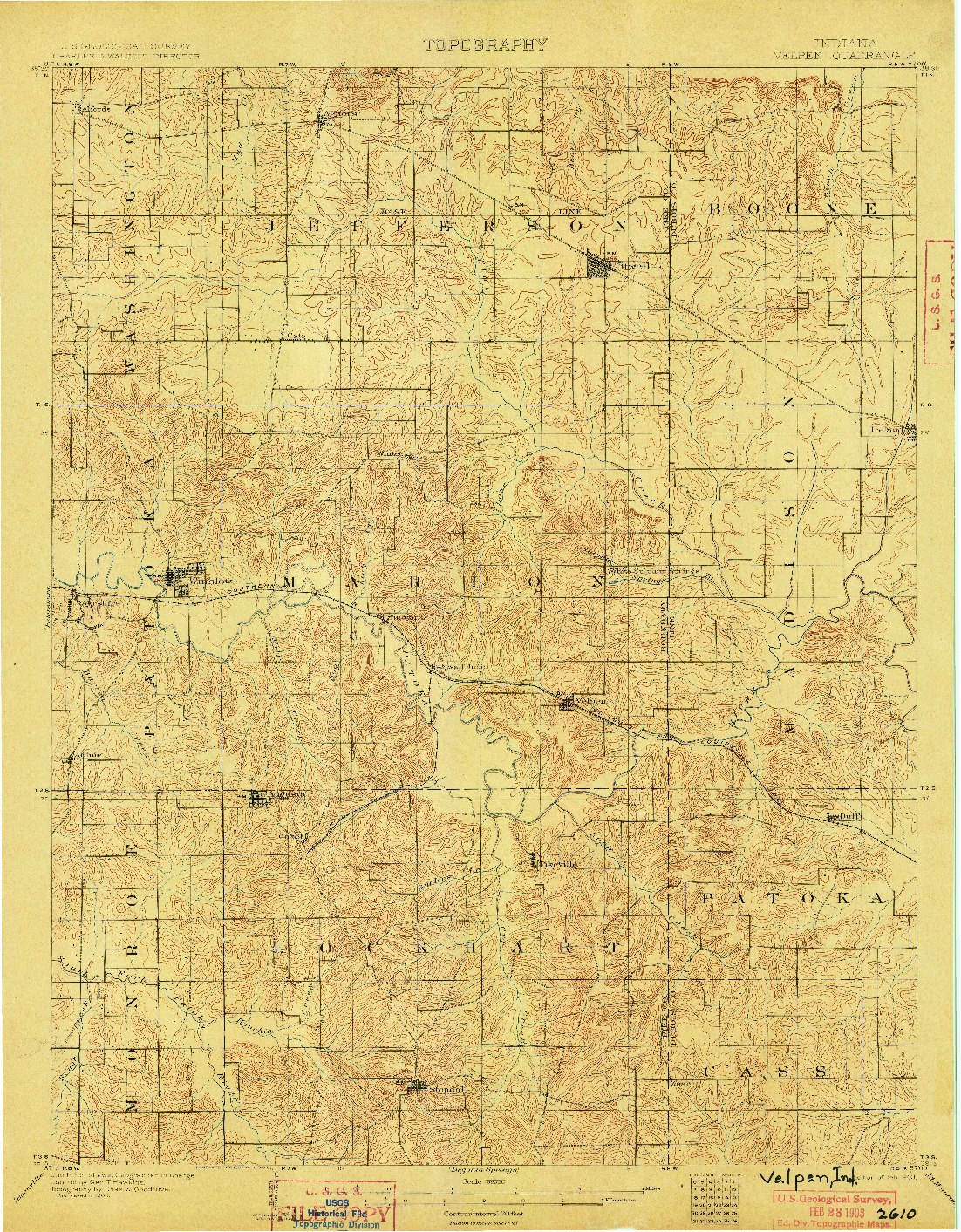 USGS 1:62500-SCALE QUADRANGLE FOR VELPEN, IN 1903