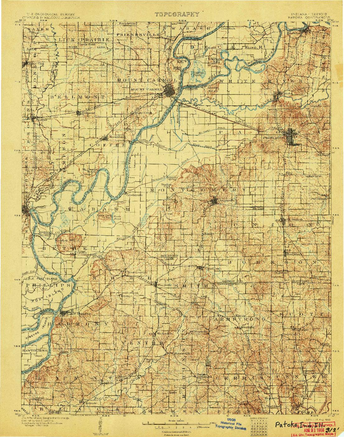 USGS 1:125000-SCALE QUADRANGLE FOR PATOKA, IN 1903
