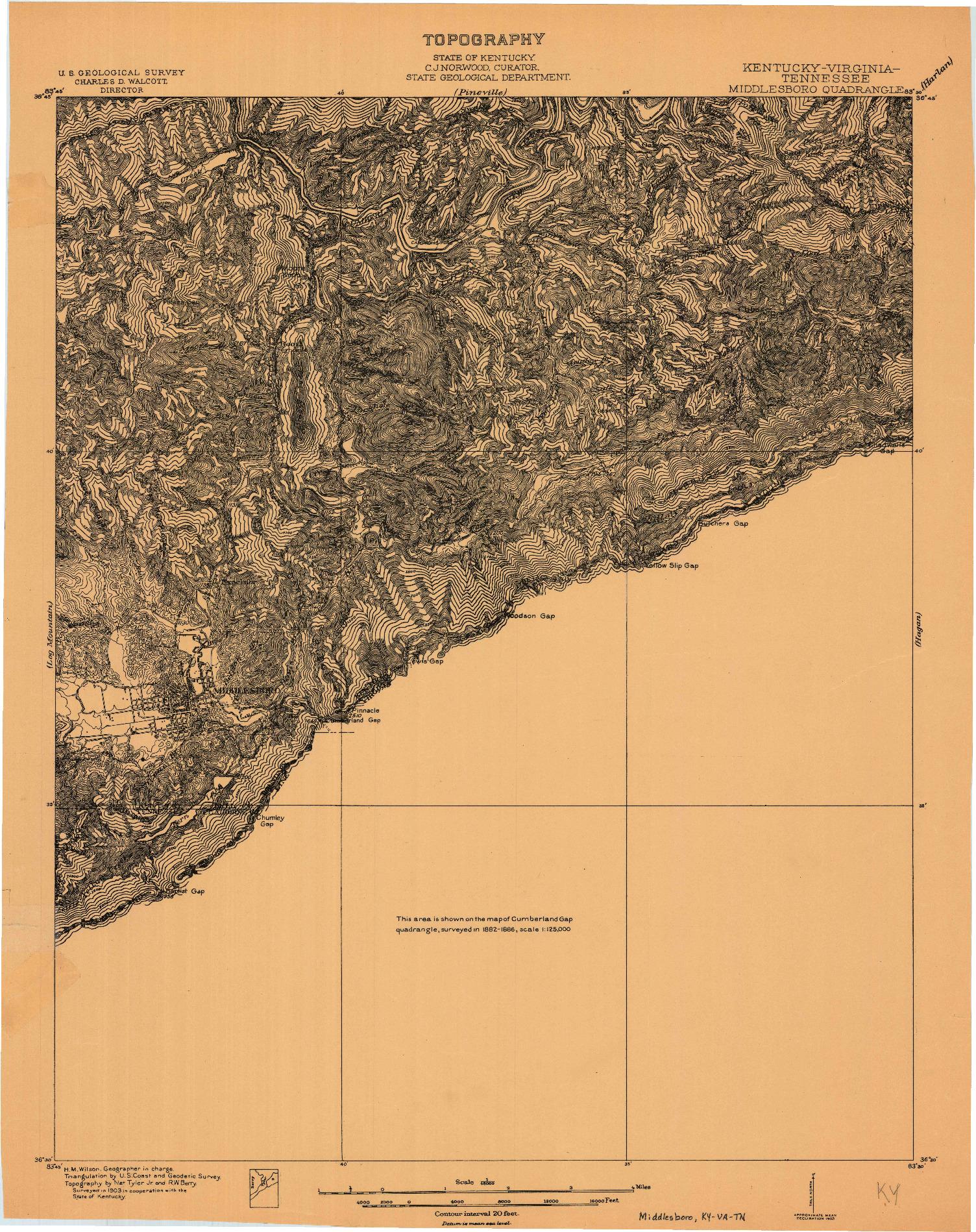 USGS 1:48000-SCALE QUADRANGLE FOR MIDDLESBORO, KY 1903