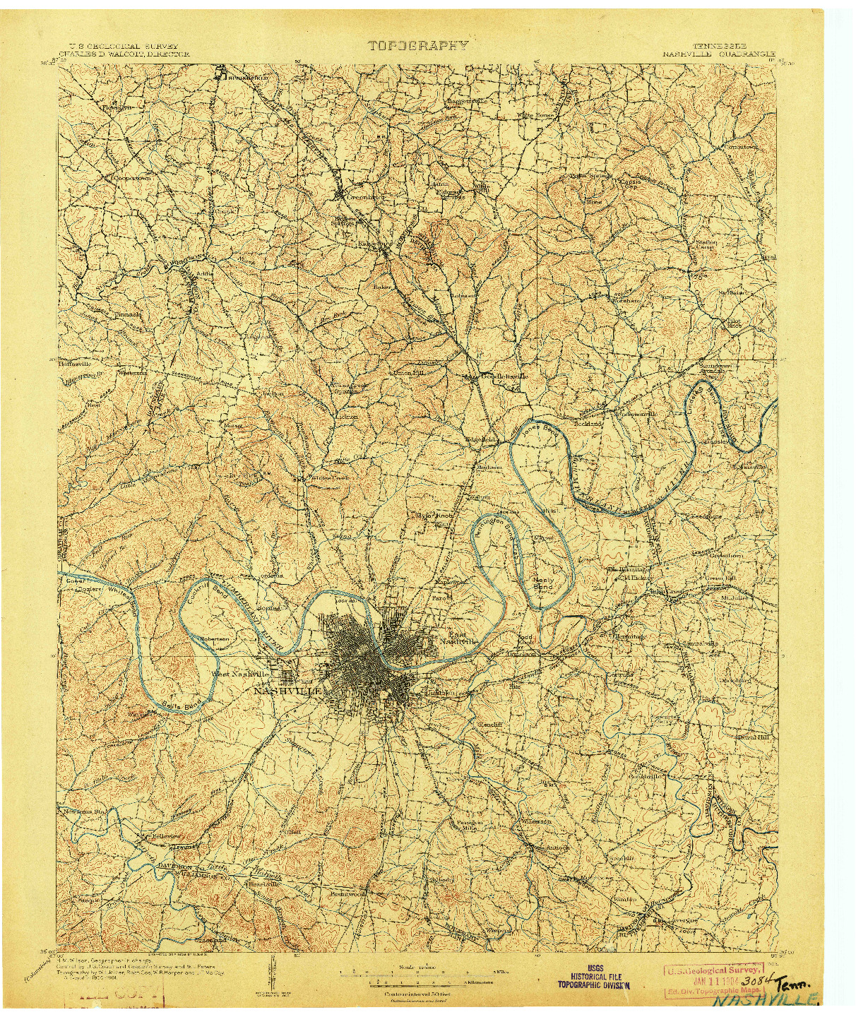 USGS 1:125000-SCALE QUADRANGLE FOR NASHVILLE, TN 1903