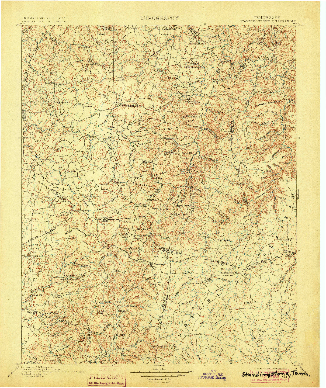USGS 1:125000-SCALE QUADRANGLE FOR STANDINGSTONE, TN 1898