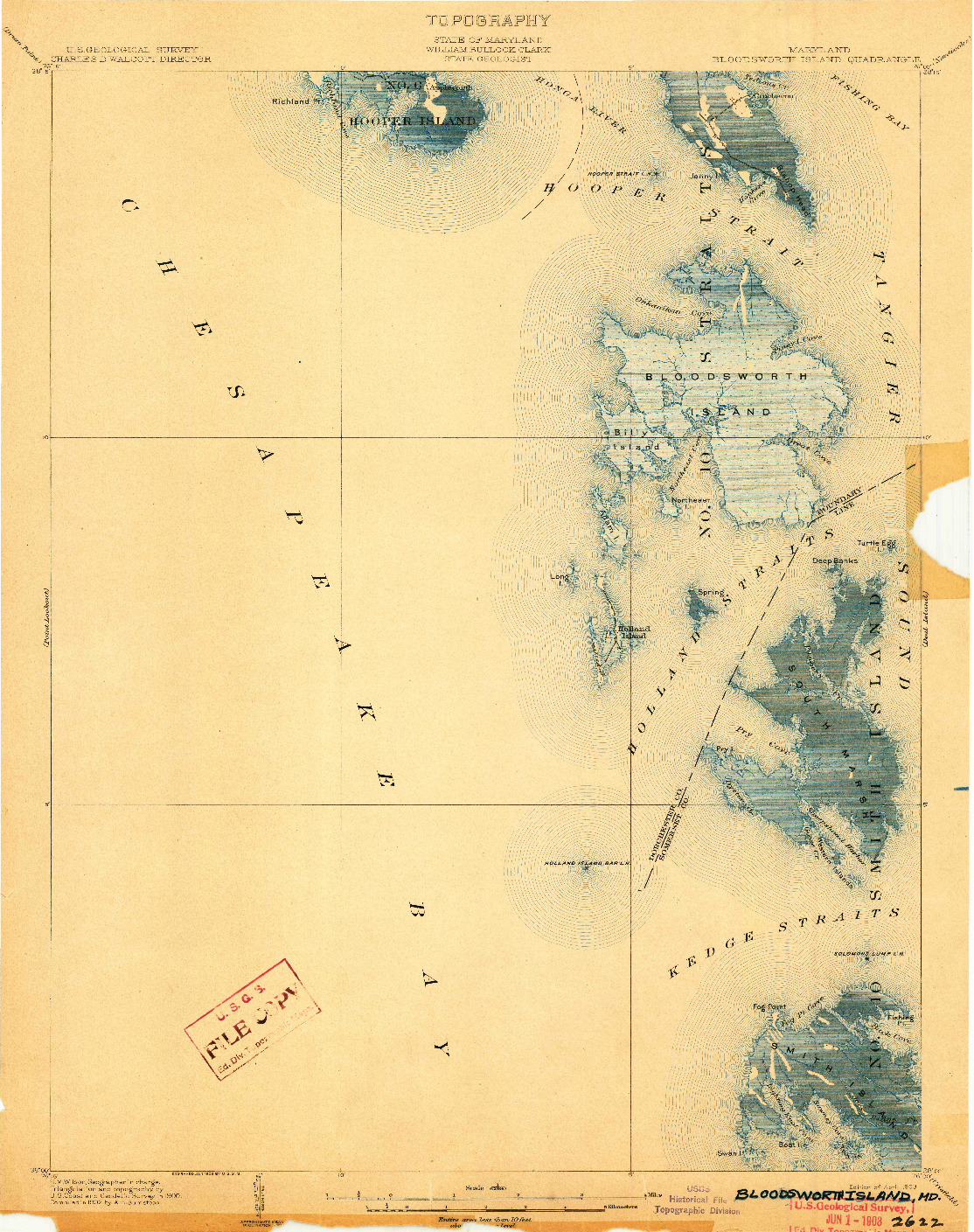USGS 1:62500-SCALE QUADRANGLE FOR BLOODSWORTH ISLAND, MD 1903