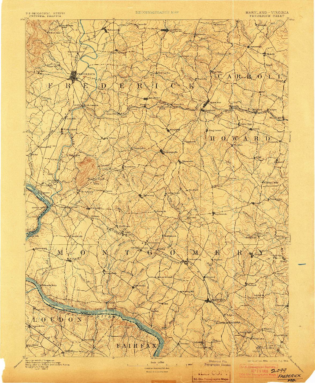 USGS 1:125000-SCALE QUADRANGLE FOR FREDERICK, MD 1894