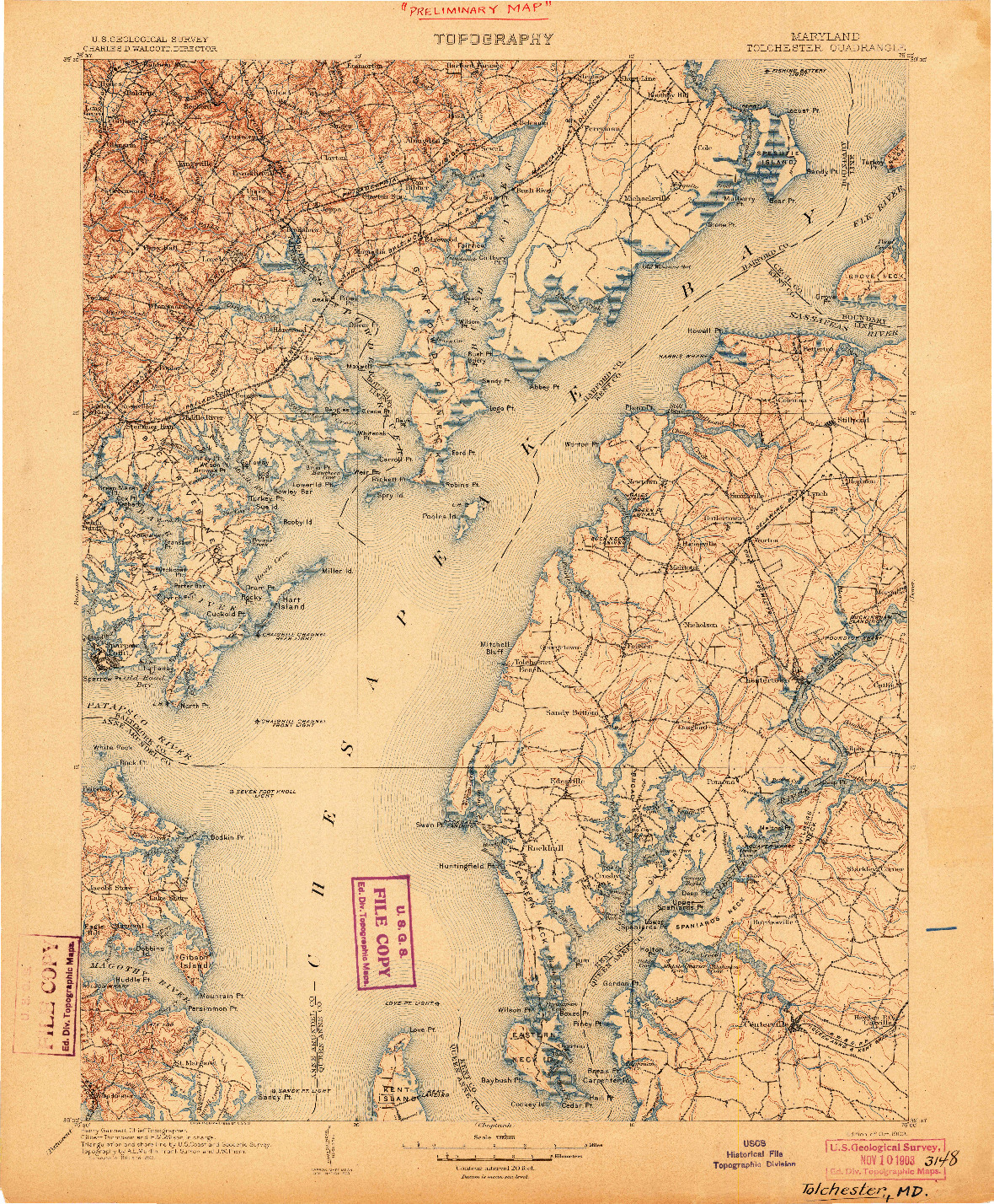 USGS 1:125000-SCALE QUADRANGLE FOR TOLCHESTER, MD 1903