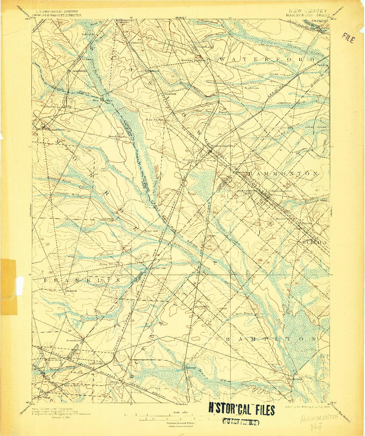 USGS 1:62500-SCALE QUADRANGLE FOR HAMMONTON, NJ 1898