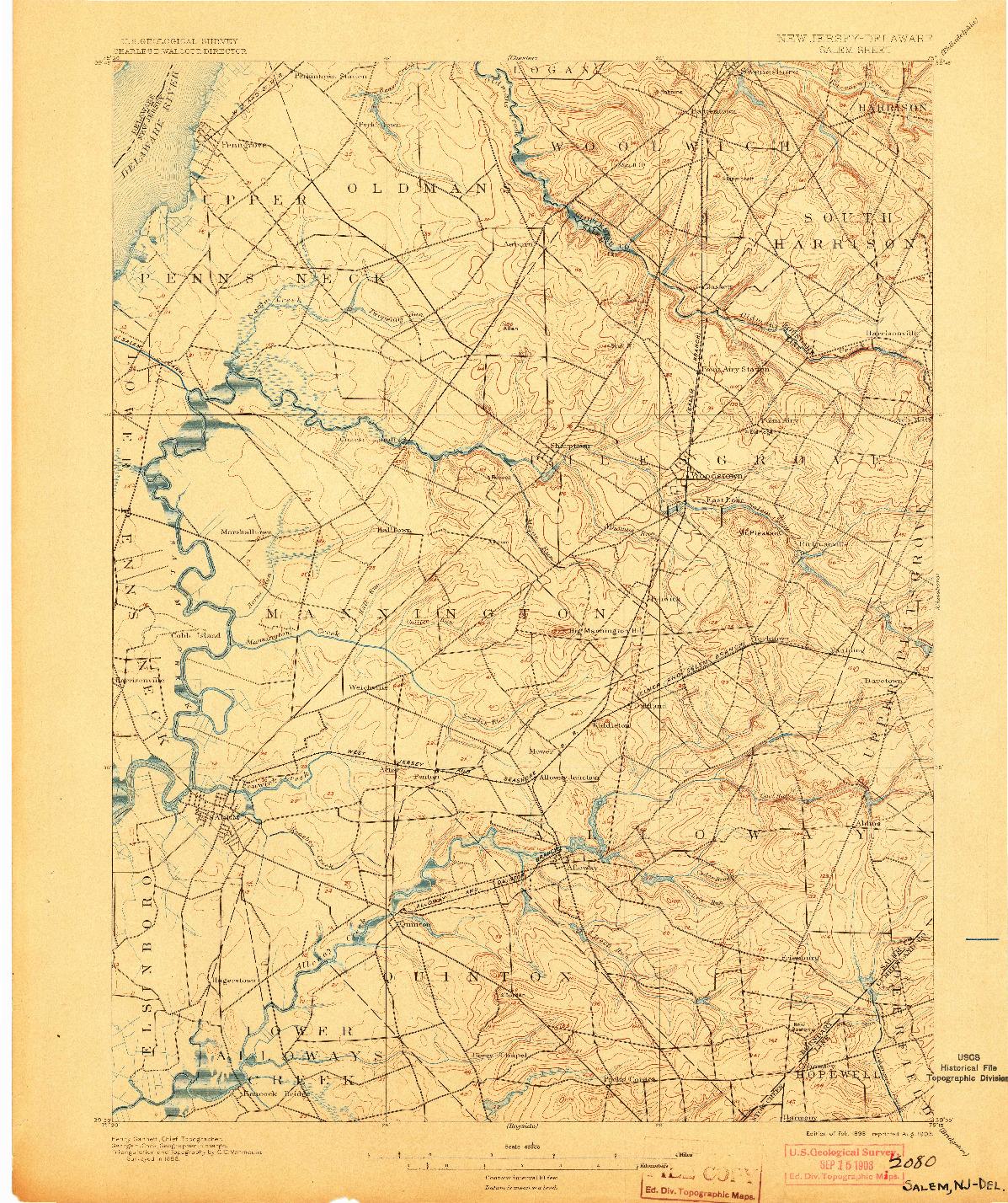 USGS 1:62500-SCALE QUADRANGLE FOR SALEM, NJ 1898