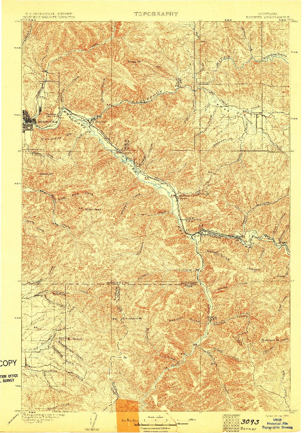 USGS 1:125000-SCALE QUADRANGLE FOR BONNER, MT 1903