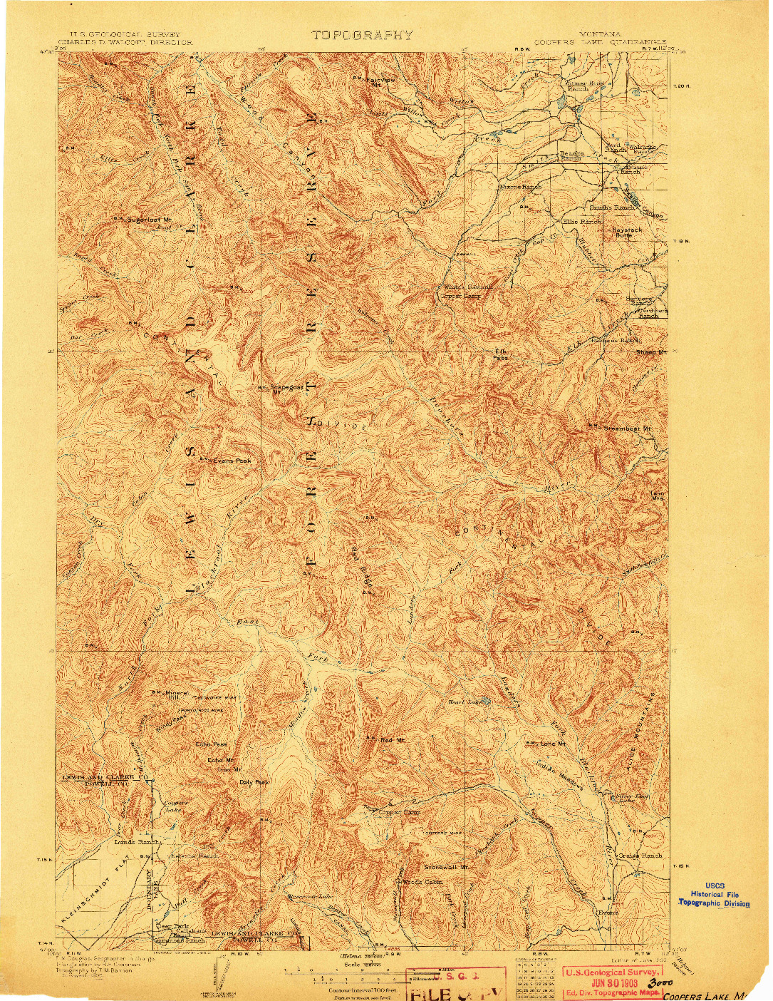 USGS 1:125000-SCALE QUADRANGLE FOR COOPERS LAKE, MT 1903