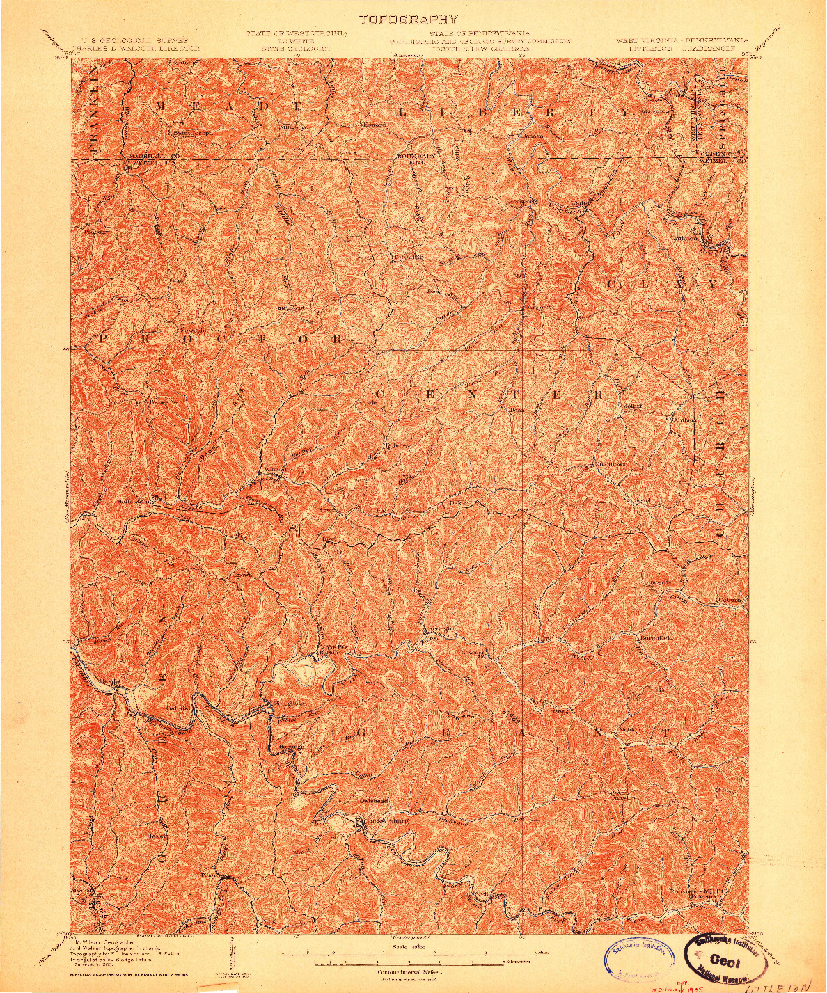 USGS 1:62500-SCALE QUADRANGLE FOR LITTLETON, WV 1903