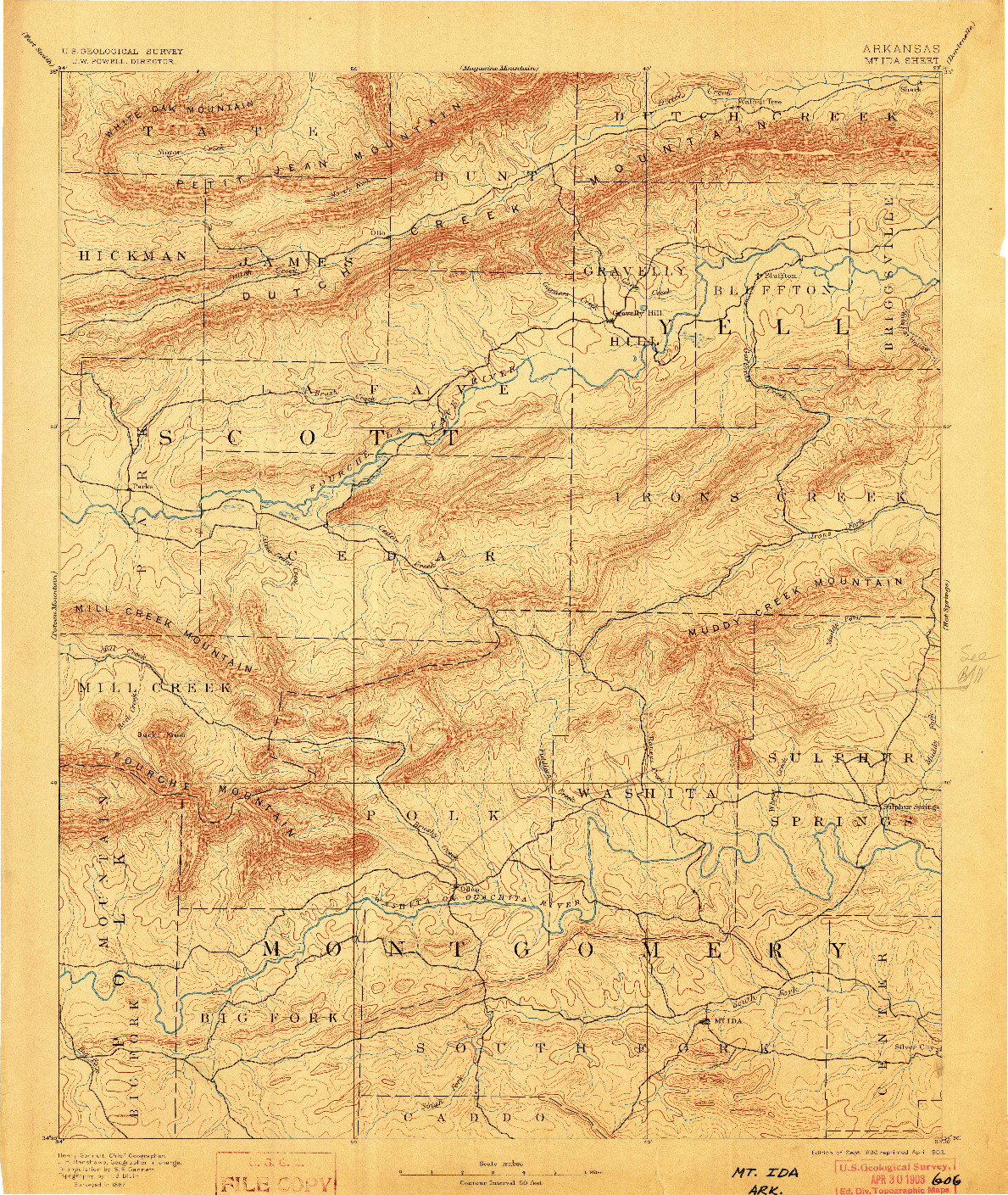 USGS 1:125000-SCALE QUADRANGLE FOR MOUNT IDA, AR 1890