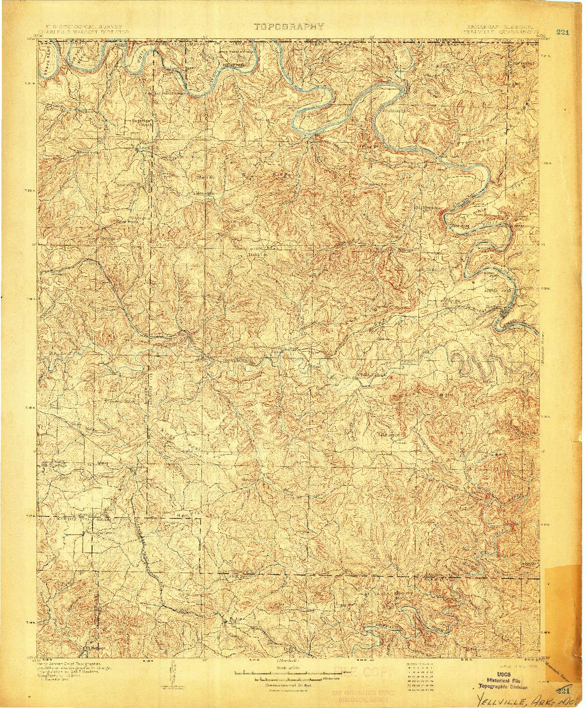 USGS 1:125000-SCALE QUADRANGLE FOR YELLVILLE, AR 1903