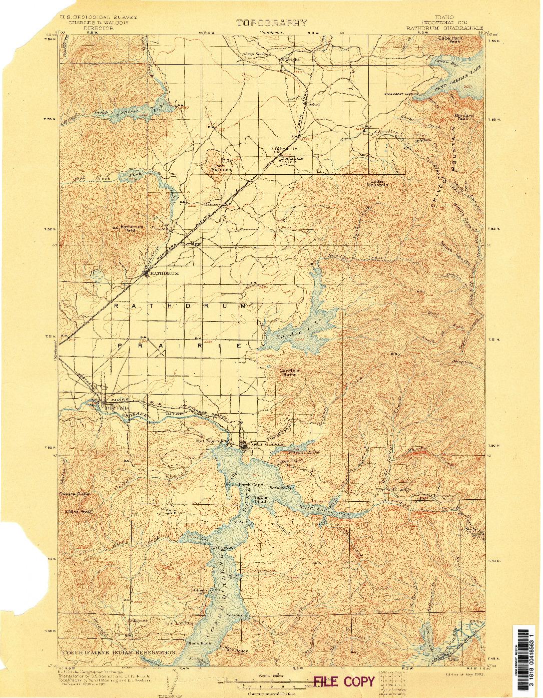 USGS 1:125000-SCALE QUADRANGLE FOR RATHDRUM, ID 1903