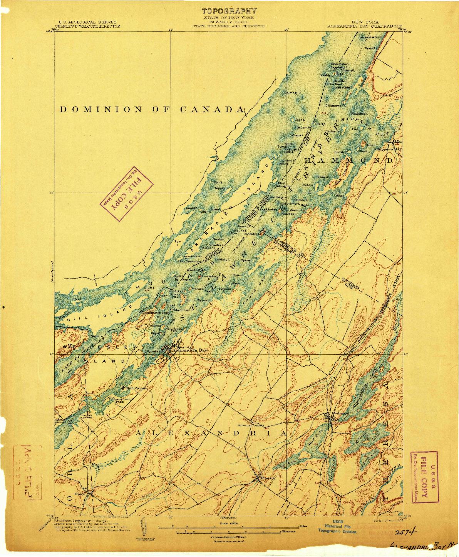 USGS 1:62500-SCALE QUADRANGLE FOR ALEXANDRIA BAY, NY 1903