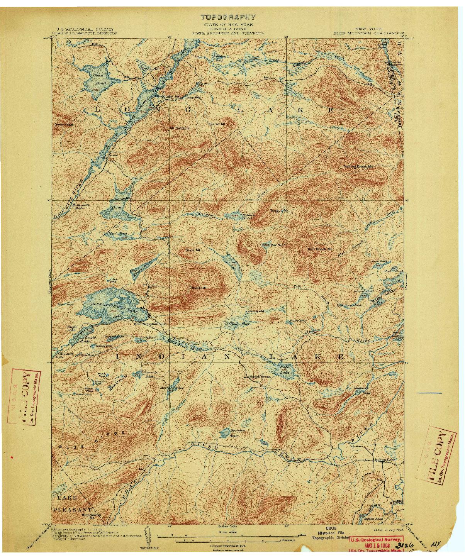 USGS 1:62500-SCALE QUADRANGLE FOR BLUE MOUNTAIN, NY 1903