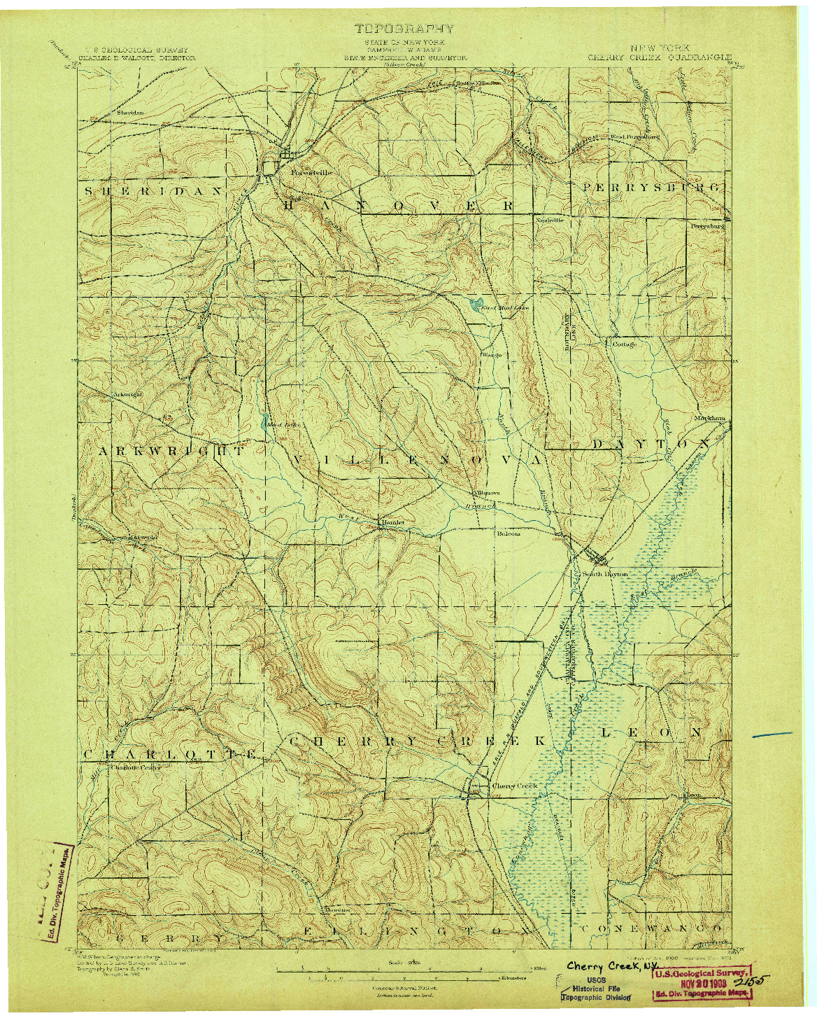 USGS 1:62500-SCALE QUADRANGLE FOR CHERRY CREEK, NY 1900