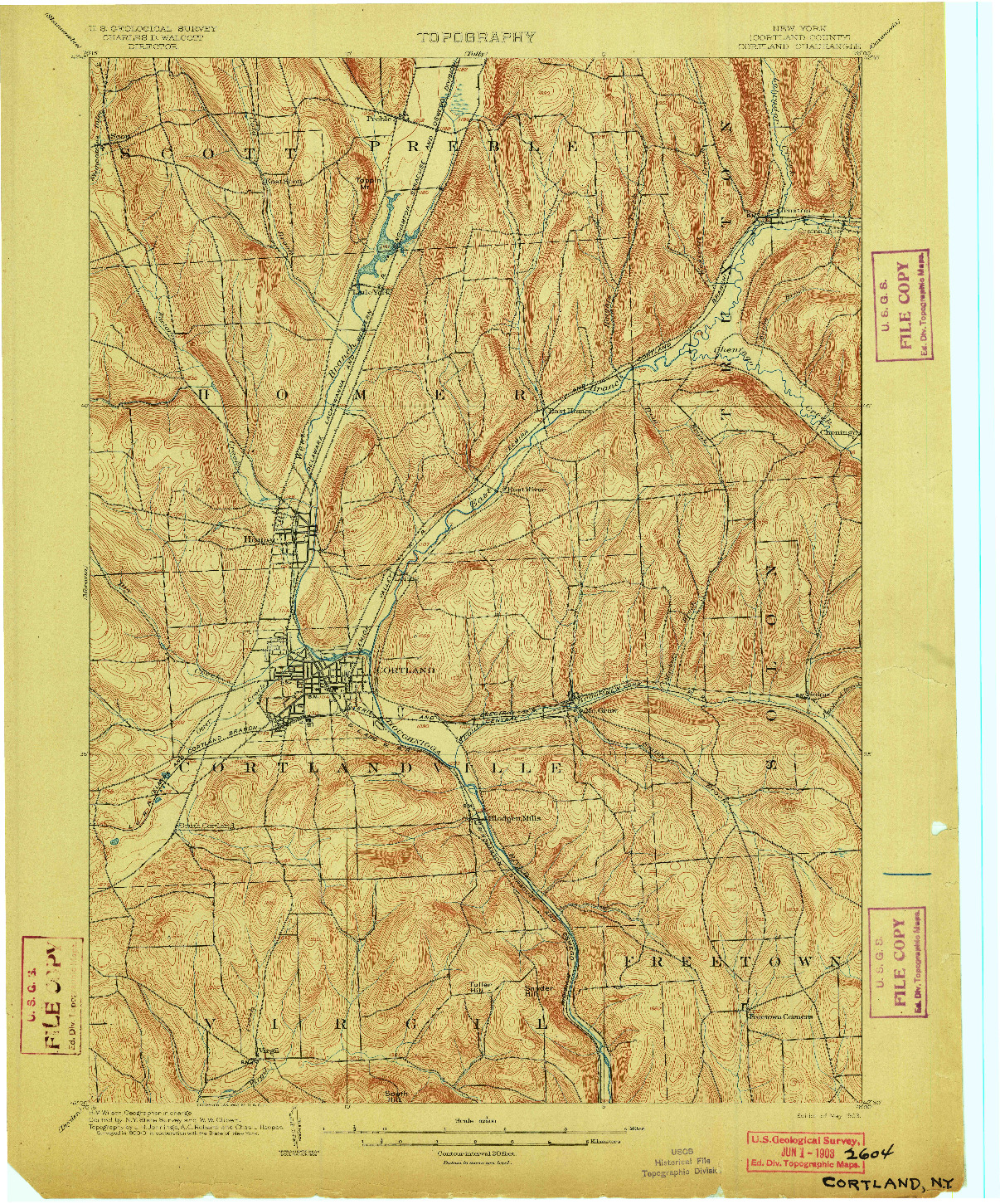 USGS 1:62500-SCALE QUADRANGLE FOR CORTLAND, NY 1903