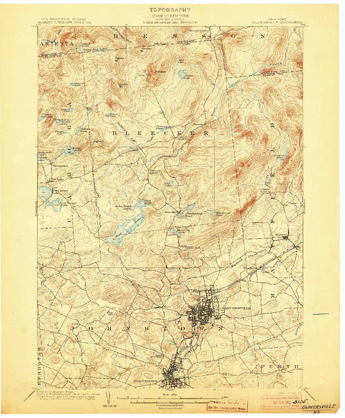 USGS 1:62500-SCALE QUADRANGLE FOR GLOVERSVILLE, NY 1903