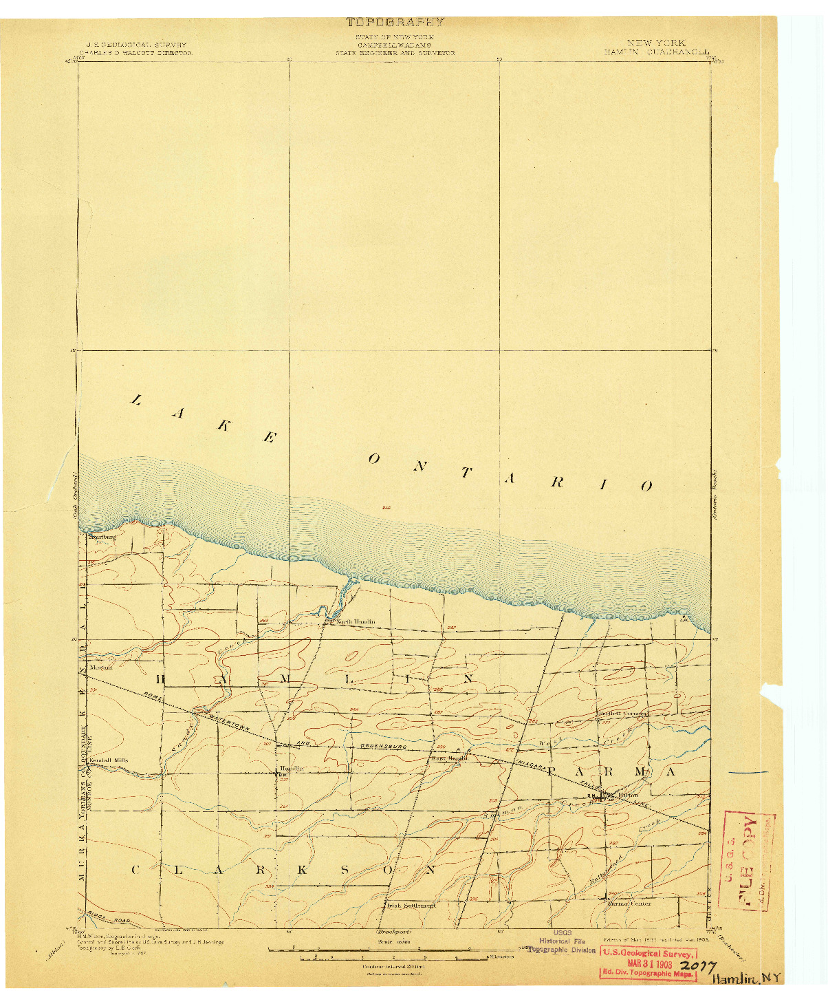 USGS 1:62500-SCALE QUADRANGLE FOR HAMLIN, NY 1899
