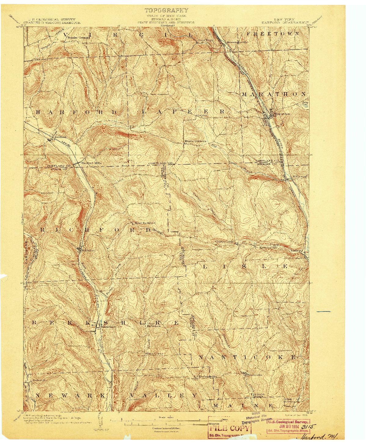 USGS 1:62500-SCALE QUADRANGLE FOR HARFORD, NY 1903