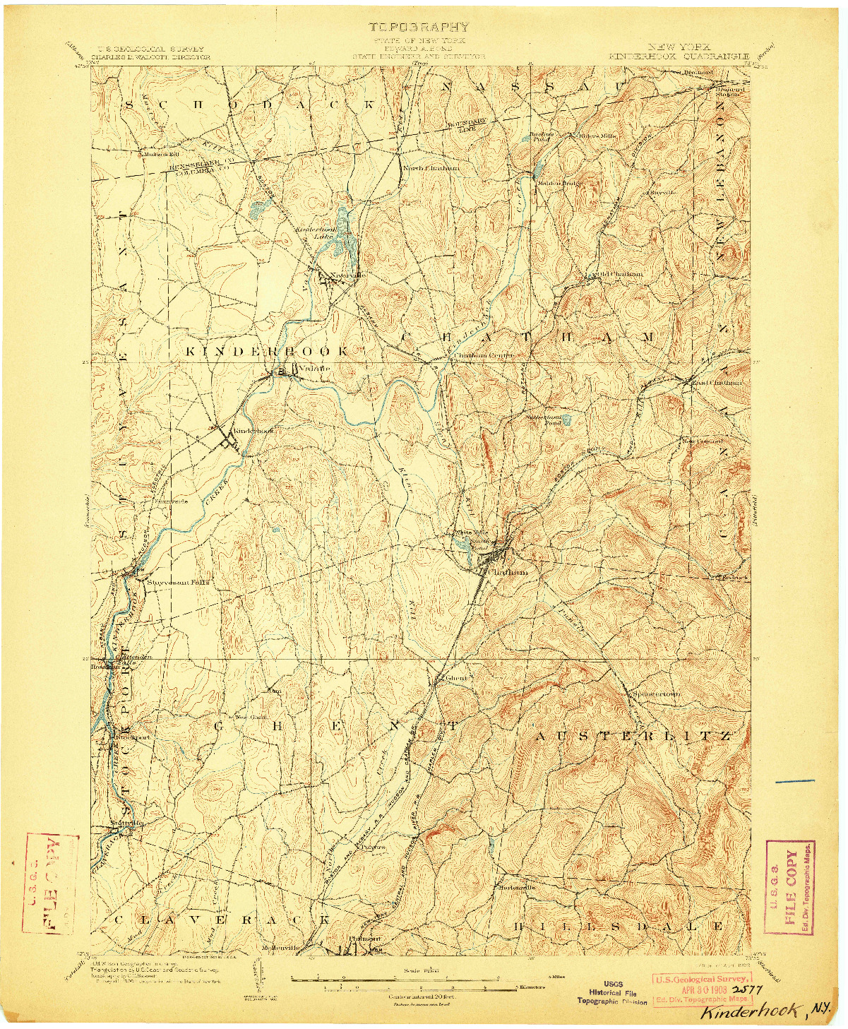 USGS 1:62500-SCALE QUADRANGLE FOR KINDERHOOK, NY 1903