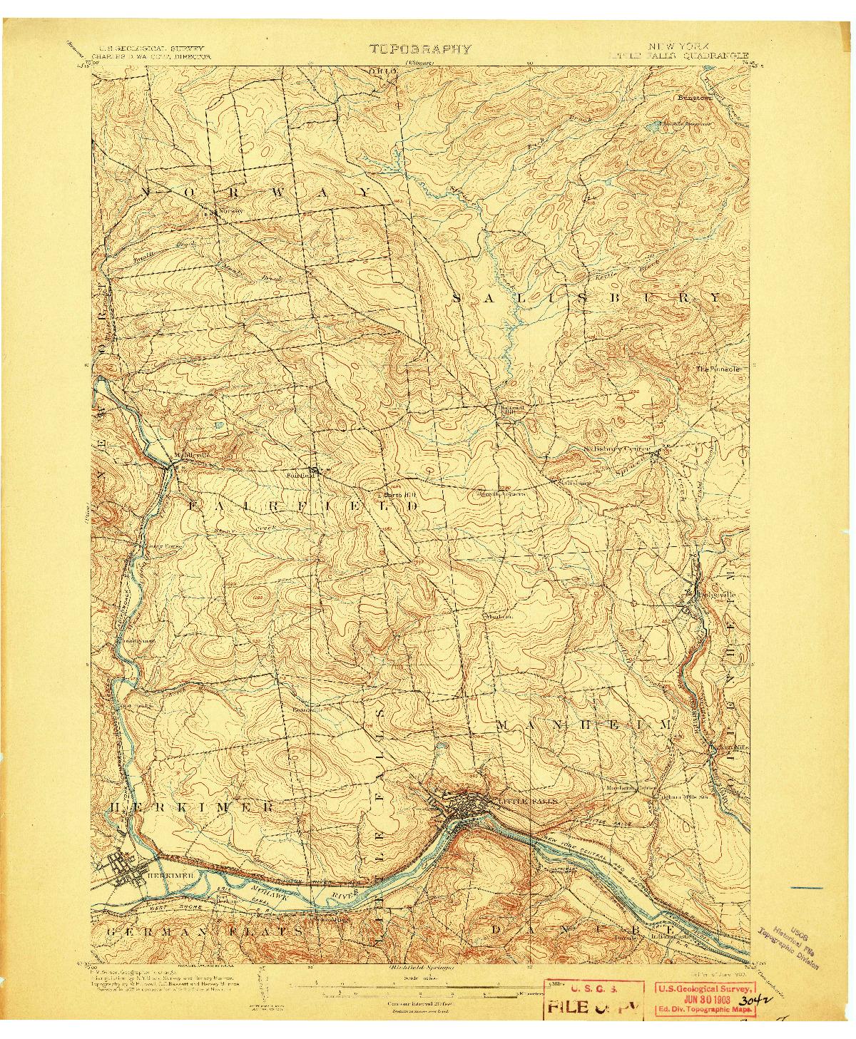 USGS 1:62500-SCALE QUADRANGLE FOR LITTLE FALLS, NY 1903