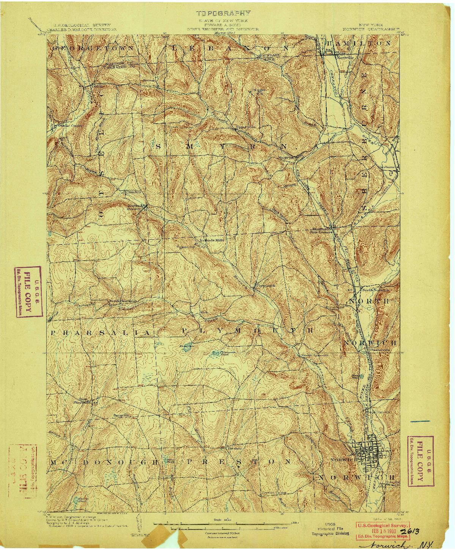 USGS 1:62500-SCALE QUADRANGLE FOR NORWICH, NY 1903