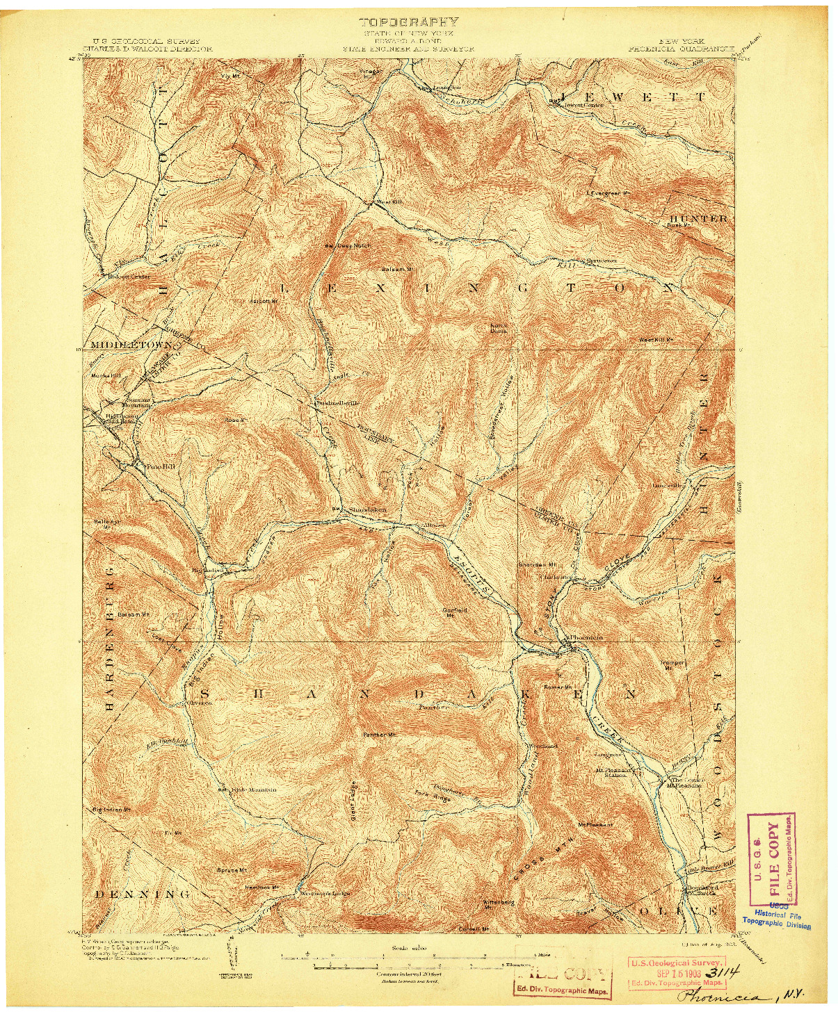 USGS 1:62500-SCALE QUADRANGLE FOR PHOENICIA, NY 1903
