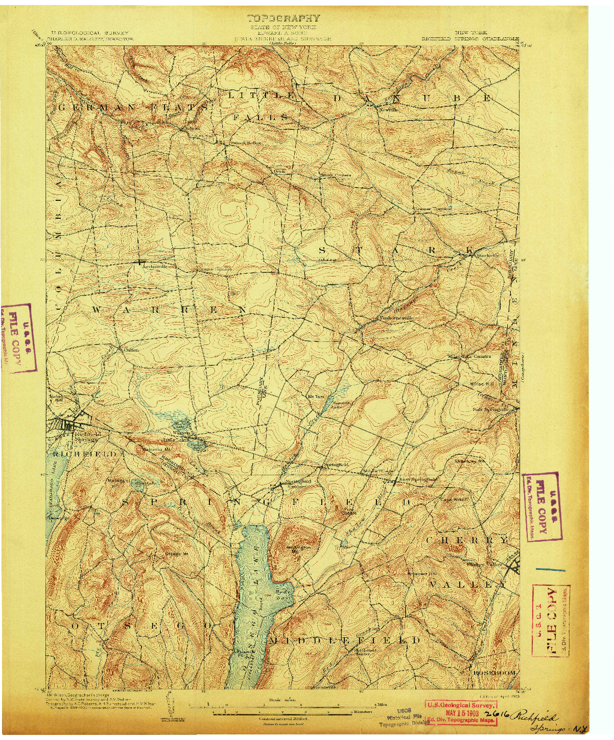 USGS 1:62500-SCALE QUADRANGLE FOR RICHFIELD SPRINGS, NY 1903