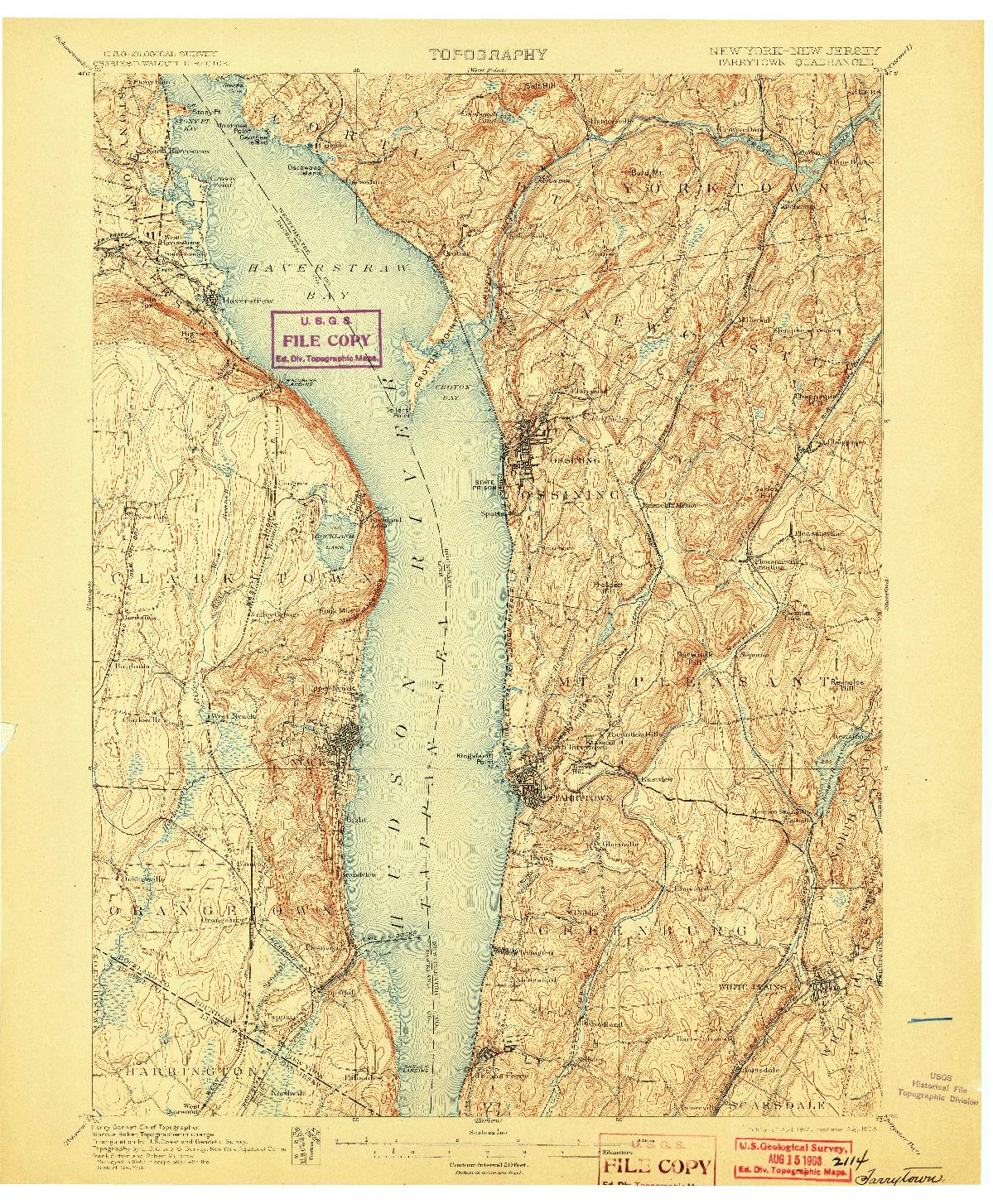 USGS 1:62500-SCALE QUADRANGLE FOR TARRYTOWN, NY 1902